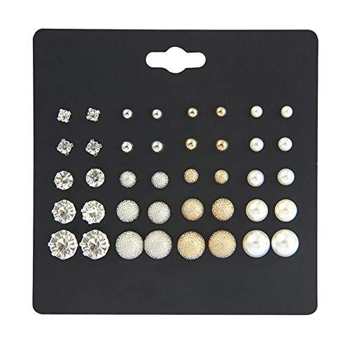 20 pares de aretes de plata, conjunto de perlas de cristal, diamantes de imitación, pendientes de plata, mujeres, hombres, niñas, joyería, regalos en el día de San Valentín, cumpleaños, boda, fiesta