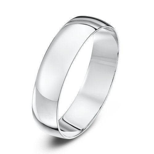 Theia Unisex Heavy Weight 5 mm D Shape 9 ct White Gold Wedding Ring - Q
