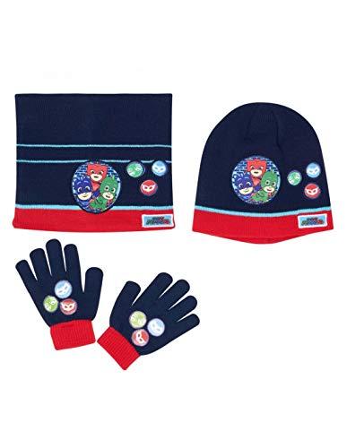 Les Pyjamasques Ensemble Snood, bonnet et gants enfant garçon Marine de 3 à 8ans - Marine, 52 cm (3-6 ans)