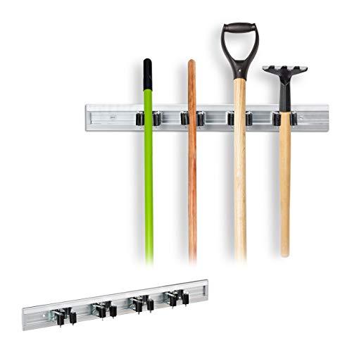 Relaxdays 2 x Gerätehalter Wandhalterung, Werkzeughalter für Wand, Ordnungsleiste Metall, Gartengeräte, Aluminium, Silber