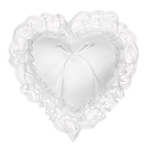 Raitron - Cuscino porta fedi nuziali a forma di cuore, in pizzo bianco, 17,78 cm