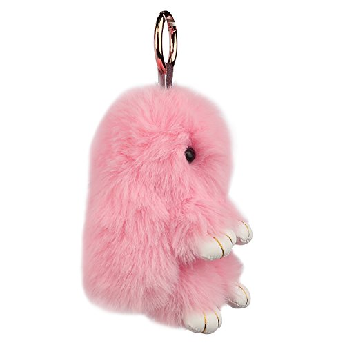 Auranso Soft Plush Bunny Charm Ring Keyfob Rabbit Faux Fur Keyring Fluffy Pompom Keychain Decoration