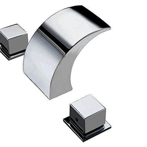 3 colores cambiantes LED cascada lavabo grifo 3 orificios baño grifo del fregadero grifos 2 manijas mezclador grifo mezclador baño grifo latón cromado