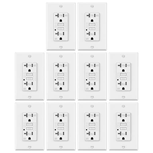 10 Pack – ELECTECK 20A GFCI Outlets, Weather Resistant (WR) GFI with LED Indicator, Tamper Resistant (TR) Ground Fault Circuit Interrupter, Decor Wall Plates Included, ETL Certified, White