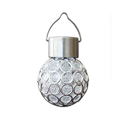 YWSZJ Impermeable giratoria Solar al Aire Libre Jardín Camping Colgantes LED Alrededor de Luces de la Bola con el Gancho Colgante Bombilla de la lámpara
