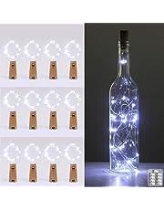 Kolpop Flessenlamp, 2 m, 20 leds, glas, kurk, licht, koperdraad, lichtsnoer voor flessen, feestjes, tuin, Kerstmis, Halloween, bruiloft, buiten/binnenverlichting, decoratie