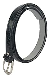 Zacharias Womens Faux Leather Solid Belt (Black, Free Size)