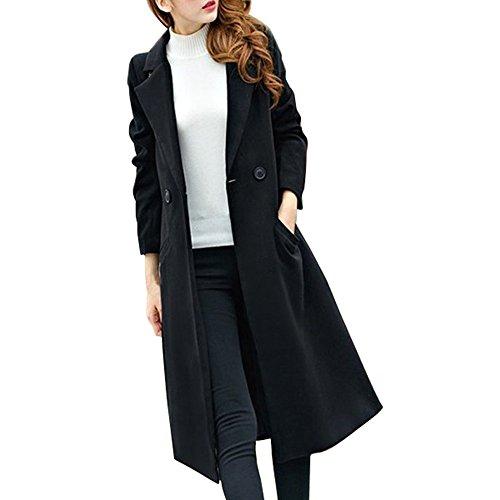 iHENGH Damen Winter Jacke Dicker Warm Bequem Slim Parka Mantel Lässig Mode Reißverschluss Frauen Herbst Lange Wollmantel Outwear Strickjacke(Schwarz, L)