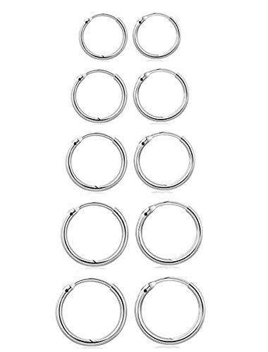 GPURE Set Of 5 Pairs Of Hoops Earrings 925 Sterling Silver Plated Glossy Huggie Hinged Earrings For Women & Men Hypoallergenic Small Sleeper Cartilage Earrings 8/10/12/14/16Mm