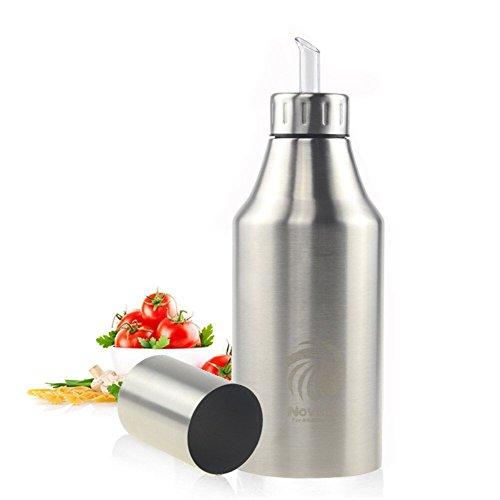 Novata Acciaio inossidabile Olio e Aceto ampolla cucina salsa liquido Condimento bottiglia distributore prova della polvere ea prova di perdite con beccuccio oliera bottiglia (1000ML)