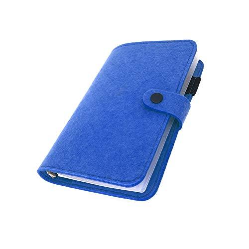 手帳 バインダー紐 システム カバー6穴 フェルト マテリアルシステムハンドブックビジネス学生6リングA5 A6ペンカード入れ, Darkblue 20, A6 mini set
