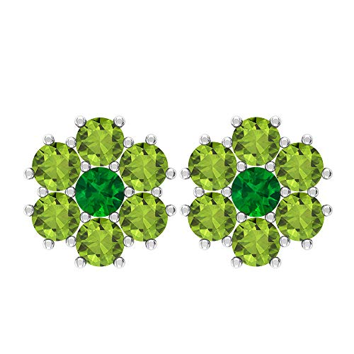 Pendientes de tuerca de 0,84 quilates, piedra preciosa redonda de 3 mm, esmeralda, 3 mm, peridoto, oro floral, regalo de San Valentín para ella, tornillo verde