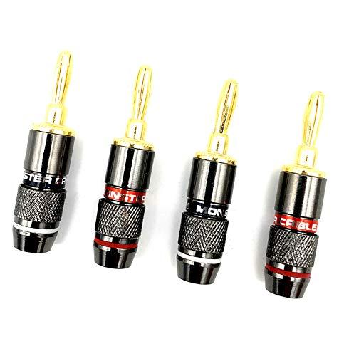 Hksman Audio-Klinkenstecker für Lautsprecherkabel, 4 Stück, 24-K-vergoldet, Monster-Lautsprecher-Bananenstecker, korrosionsbeständig, 2 schwarz und 2 rot