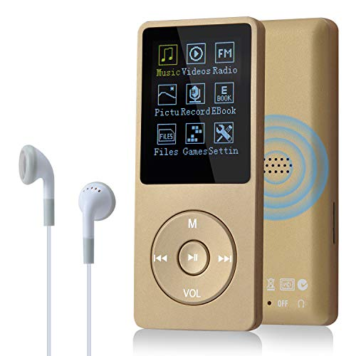 COVVY 8GB(Support bis zu 64GB SD Speicherkarte) Tragbare MP3 Musik Player 70 Stunden Musik Playback Lossless Sound Hi-Fi MP3 Player (Gold)