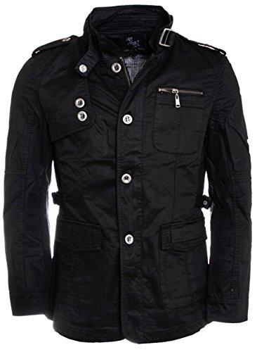 Young & Rich Herren Übergangs Jacke Kurz Mantel mit Stehkragen Slimfit tailliert 813-4980, Grösse:XXL;Farbe:Schwarz