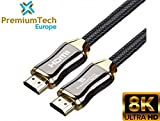PremiumTech - Cable HDMI 2.1 Soporta hasta 10K, 8K 60Hz y 4K 120Hz - Ultra High Speed 48GB/s - Dolby...