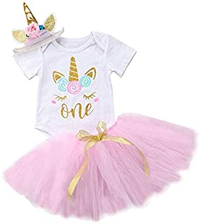 HOLOMALL Baby Girls Birthday Party Dress Outfit Short Sleeve Unicorn Romper+Lace Skirt+Headband 3Pcs Clothes(0-12 Months) (Pink)