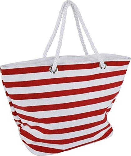Strandtas rood wit gestreept met koordgreep