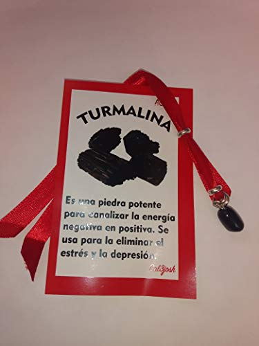 Turmalina Negra, Pulsera lazo rojo, 100% Mineral Natural de Brasil, Amuleto Proteccion y Buena Fortuna.