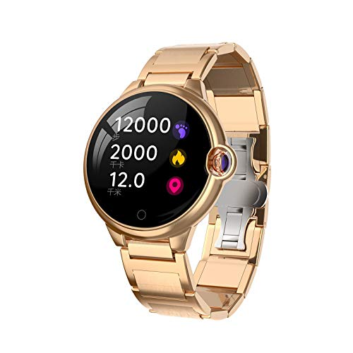 WEINANA Männer Frauen Smart Watch Wasserdicht Mode Armband Fitness Tracker Herzfrequenz Bluetooth Sport Smartwatch Für IOS Android(Color:EIN)