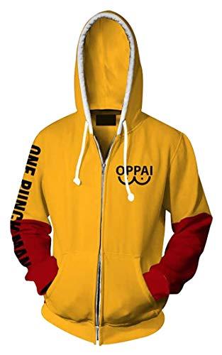 BoerMee Mens Saitama Oppai Hoodie Cosplay Costume 3D Printed Hooded Sweatshirt (L, Yellow 1)
