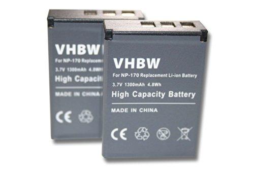 vhbw 2X Li-Ion Akku 1300mAh (3.7V) Set für Kamera Camcorder Tevion DV-23 HD Easypix DVX5233 Optimus, Ordro HDV-D325, HDV-D370 wie NP-85, CB170.