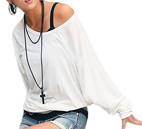 Damen Longshirt Super Lose Tunika Japan Style Oversize!! Bluse Blouse Kimono S/M L/XL (157) (S/M, Weiss)