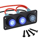 Panel de interruptor basculante de palanca, interruptor de encendido/apagado redondo impermeable de 3 bandas 12V LED azul para automóvil, automóvil, barco, autobús, camión, vehículos, SUV, RV
