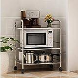 LXGANG Shelf Horno de almacenaje del estante de acero inoxidable de cocina Tres capas de aterrizaje...