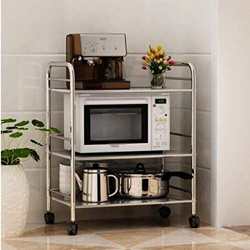 SUNTAOWAN Horno de almacenaje del estante de acero inoxidable de cocina Tres capas de aterrizaje en rack estante de la microonda platos móviles de almacenamiento en rack de almacenamiento de equipos d