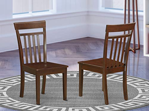East West Furniture Capri Modern Dining Chairs - Wooden Seat and Mahogany Finish Solid Wood Frame Wood Dining Chair Set of 2