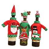 3 Set Navidad Bolsa de Botella de Vino Papá Noel Monigote de Nieve Alce Envoltura de Botella de Vino Fiesta de Navidad Decoración de Mesa de Cena por SamGreatWorld