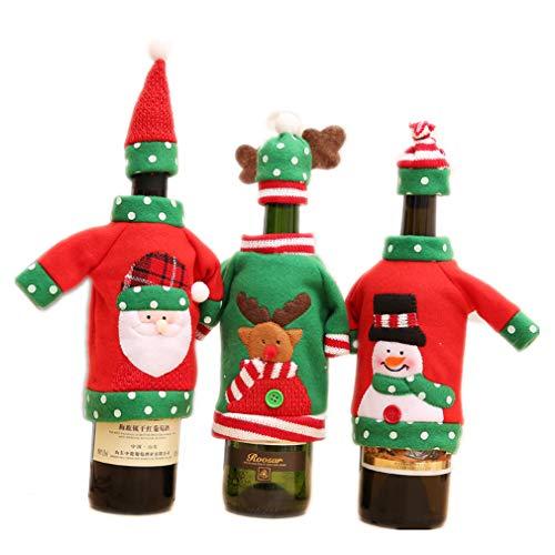 CDKJ 3 Set Natale Borsa per Bottiglia di Vino Babbo Natale Pupazzo di Neve Alce Involucro della Copertura della Bottiglia di Vino Decorazioni per la Tavola da Pranzo di SamGreatWorld