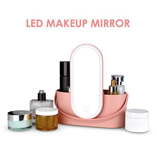 Organizador de maquillaje 2 en 1, espejo de maquillaje LED, estuche de viaje, organizador cosmético portátil para viajes, hogar