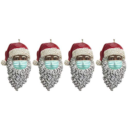 MOHOLL Christmas Ornament Pendants with Masks,Black Santa 2020 Christmas Tree Decorations Keepsake, Personalized of Holiday Decorations, Best Gifts