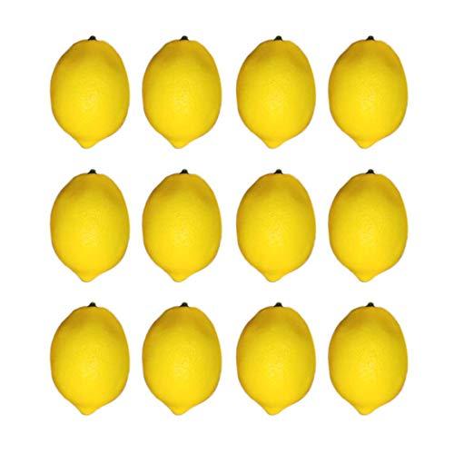 """Lorigun 12 Piezas de Limones Amarillos Artificiales de 2.9""""X 2"""", Limones Falsos para la decoración del hogar, Limones para la decoración de la Fiesta de Navidad de Kichen, Limones Amarillos Falsos"""