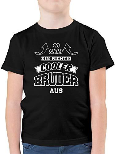 Geschwister Bruder - So Sieht EIN richtig Cooler Bruder aus - 152 (12/13 Jahre) - Schwarz - Tshirt sprüche Bruder - F130K - Kinder Tshirts und T-Shirt für Jungen