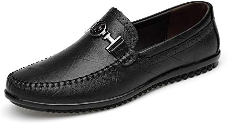 Casual shoes Peas Toe Leather shoes A Pedal Set Foot shoes Men's shoes (color   Black, Size   45)