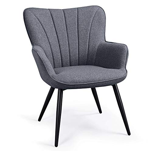 Yaheetech Modern Fabric Accent Chair Scalloped Armchair Sofa Lounge Tub Chair Cushioned Soft Seat with Sturdy Steel Legs for Living Room Bedroom Gray
