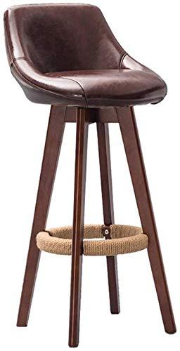 Zfggd Home Bar muebles de comedor taburete de madera marrón Taburete giratorio 360 ° Taburete Alto desayuno de cocina Inicio Barra Silla con respaldo comercial y Brown de la PU del amortiguador Concis