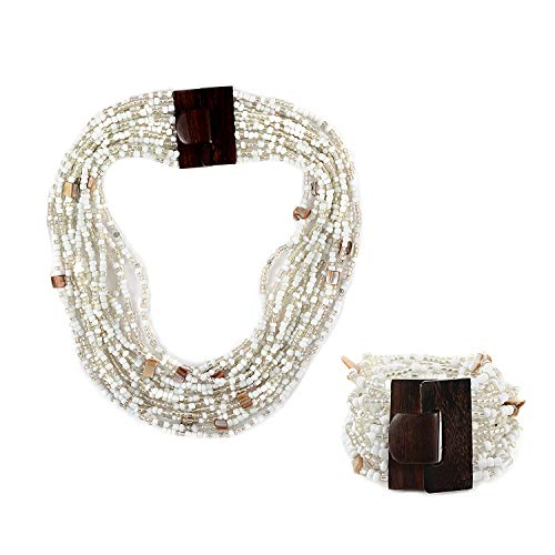White Seed Bead Shell Wooden Buckle Stretchable Bracelet Multi Strand Boho Necklace Fashion Jewelry for Women Graduation Gifts for Her 18