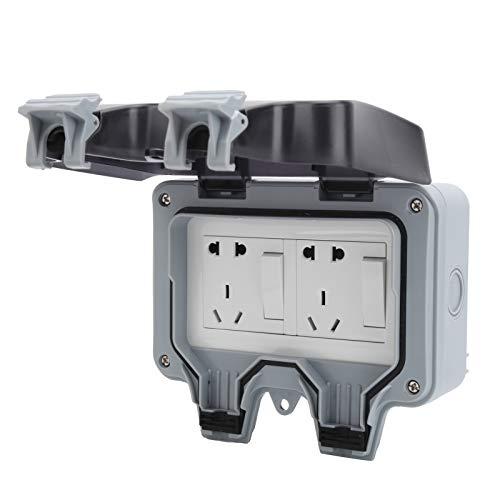 Caja de enchufe impermeable al aire libre, componentes de control de tomacorrientes eléctricos a prueba de lluvia de pared 220V