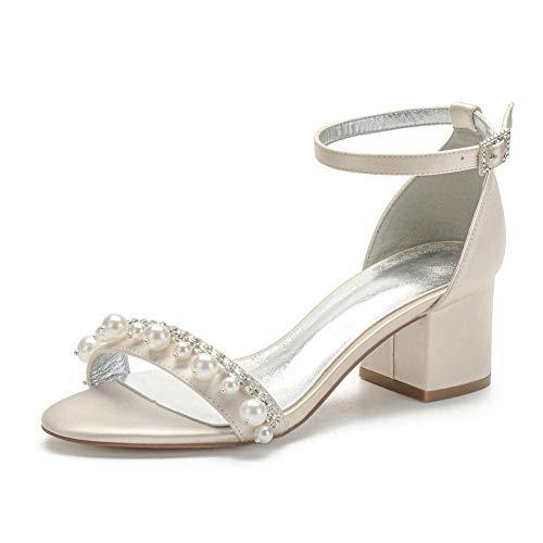 LGYKUMEG Damen Brautschuhe, Peep Toe High Heels Sandalen mit Strass Satin Hochzeitsschuhe,Champagne,40EU/9US/7UK