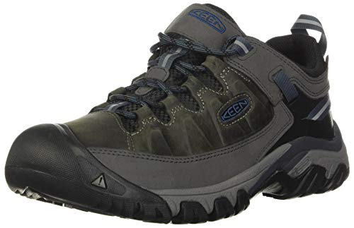 KEEN Men's Targhee 3 Low Height Waterproof Hiking Shoe, Steel Grey/Captains Blue, 9