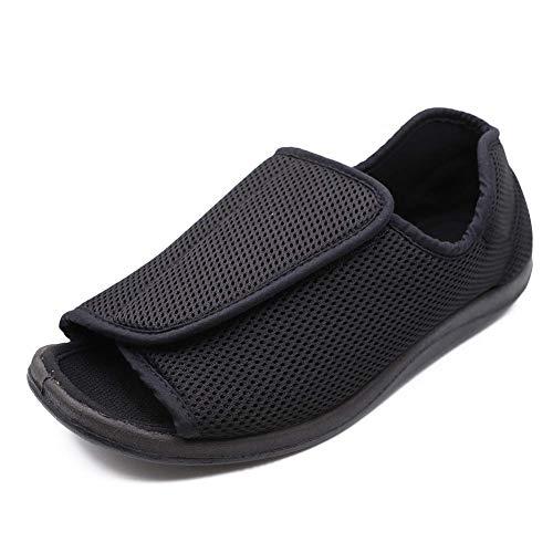 JJK Zapatillas Diabéticos De Edad Avanzada, Sandalias De Punta Abierta Ajuste Ancho Ajustable Zapatos Ortopédicos A Pie De Los Hombres Confort Zapatillas Calzado para Pies Hinchados Edema,Negro,44