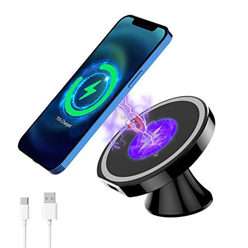 Caricatore Auto Wireless da 15W, Magnetico Auto Caricatore Wireless per iPhone 12, Regolabile a 360°, Compatibile con iPhone 12/12 Pro / 12 Pro Max / 12 Mini(A)