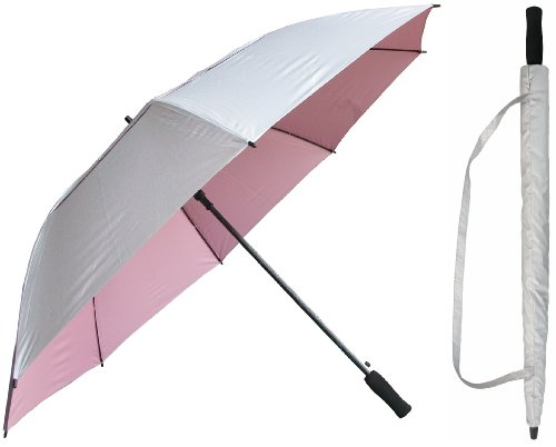RainStoppers 62-Inch Silver Coated Windbuster Golf Umbrella (Silver and Pink)