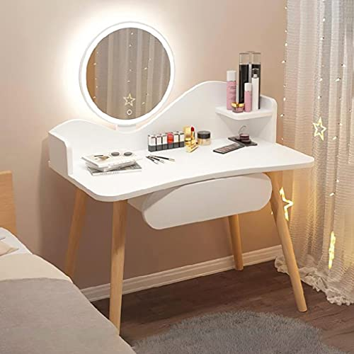 Tavolo da Trucco con Luci LED Regolabile luminosità e Specchiera Set, Moderno Vanity Toeletta Bianco con 1 Cassetti Tavoli Cosmetici per Camera da Letto Bagno Soggiorno