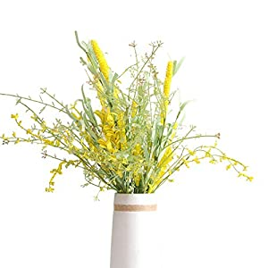 LecoDiy 4 Bunches Artificial Yellow Forsythia Stem Set 19 Inch Spring Long Flower Bouquet with Green Leaves for Rustic & Natural Home, Apartment or Wedding Decor
