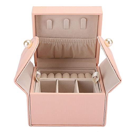 Caja De Almacenamiento De Joyas, Pu Mini Pendientes Caja De Espárragos De Joyería Portátiles Reloj Anillos Pulsera Para Cobertizos De Almacenamiento Organizador Almace(Rosado)